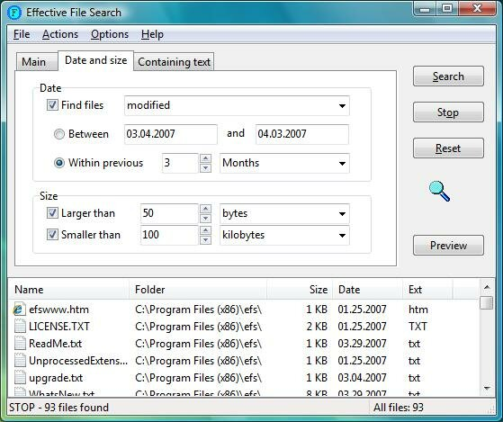 Effective File Search - Screen Shots (Windows 7 and Windows